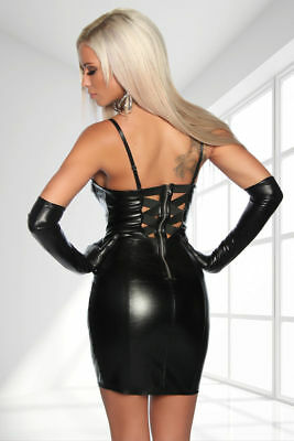 SEXY EFFETTO LUCIDO Push Up vestitino Fetish Vestito DOMINA Erotico ZIP S M L XL