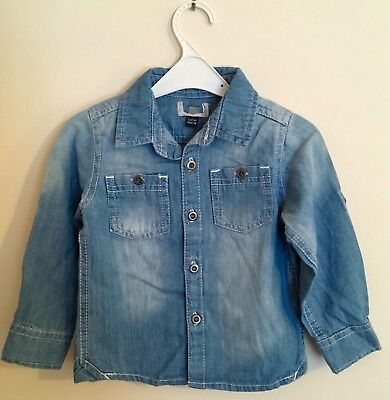 New Bagged Exstore Boys Faded Blue Denim Shirt 100% Cotton Sizes 1-2 Years
