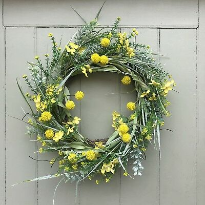 Large Spring Easter Door Wreath, Faux Greenery Artificial Yellow Meadow  Flowers
