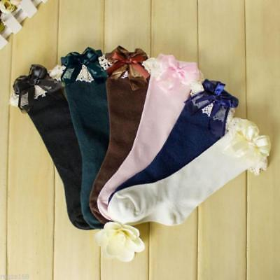 Girls Soft Baby Cotton Lace Stockings Breathable High Knee Socks