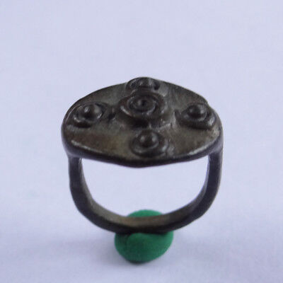 ROMAN ANCIENT ARTIFACT BRONZE SMALL RING WITH DICE  - Lucky