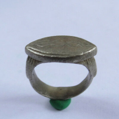 Roman Ancient Artifact Silver Ring With Fertility Vagina