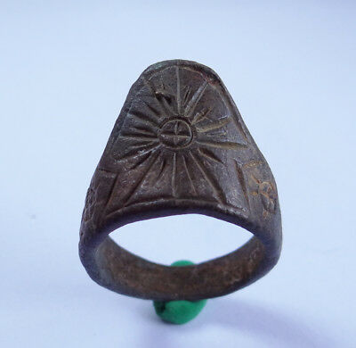 Roman Ancient Artifact Bronze Archer Finger Legionary Ring With Engraved