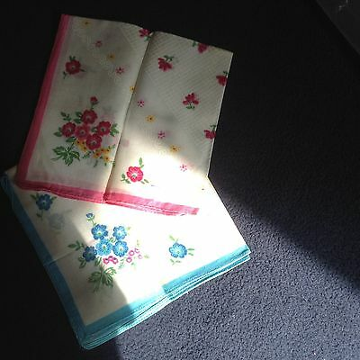 Two Ladies Handkerchiefs, Floral, Cotton, Blue and Pink, New