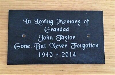 """Personalised Engraved Slate Bench Memorial Plaque Sign 4 x 2.25"""""""