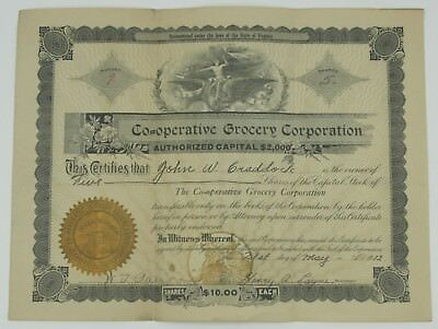 1912 Co-operative Grocery Corporation, Lynchburg, VA Stock Certificate