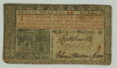 March 25, 1776 Twelve Shillings New Jersey Colonial Currency