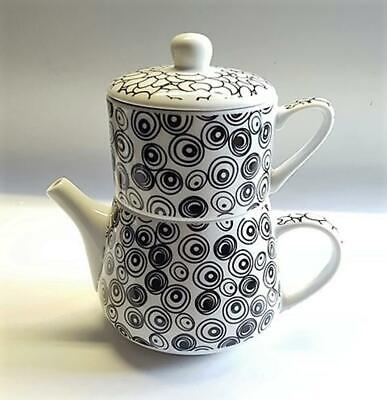 "Tea for une "" Nippon "" porcelaine Cercles / CAILLOU NOIR"