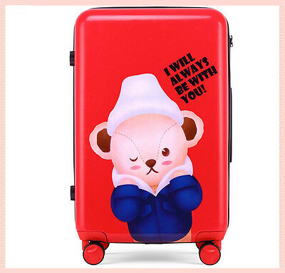 "24"" Red Cartoon Bear Universal Wheel TSA Lock Travel Suitcase Luggage Trolley*"