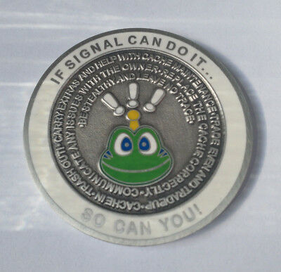 What Would Signal Do? Geocoin - Antique Silver