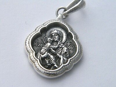 Handcrafted 925  Oxidized  Sterling Silver Orthodox Russian  Icon  Mother Marry