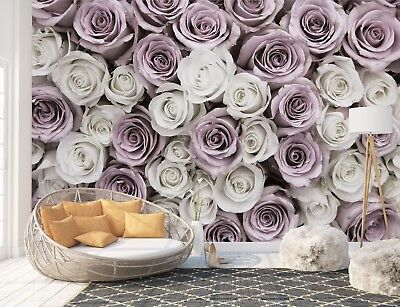 Wall Mural Photo Wallpaper Picture EASY-INSTALL Fleece Rose Flowers Pink White