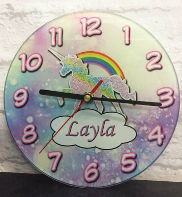 Childrens Personalised Magical Unicorn Glass Bedroom Clock - Add A Name