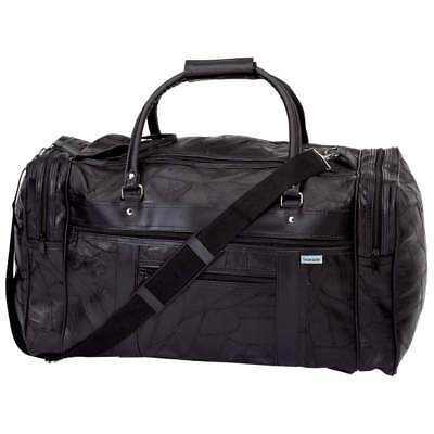 """NEW 21"""" Black Leather Duffle Tote Bag Gym Carry On Mens Travel Overnight Luggage"""