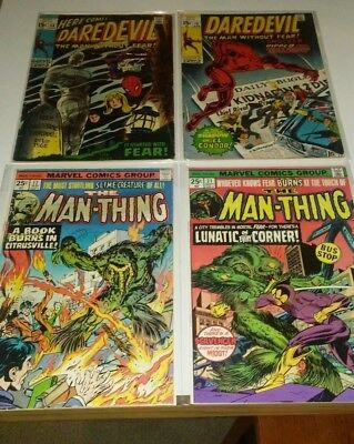Vintage Marvel Comics Lot of 4 Featuring Daredevil and Man-Thing
