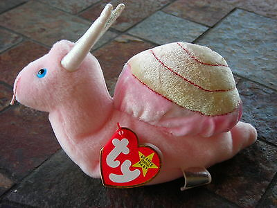 Beanie Babies Baby Ty Swirly the Snail 1999 Retired Collectible Pink Yellow