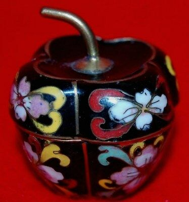 VINTAGE CHINESE CLOISONNE ENAMELl on BRASS FLOWER APPLE-SHAPE JAR