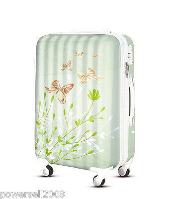 "28"" TSA Lock Universal Wheel Butterfly And Flower ABS+PC Travel Suitcase Luggage"