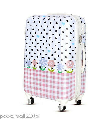 "28"" TSA Lock Universal Wheel White Polka Dot Pink Plaid Travel Suitcase Luggage"