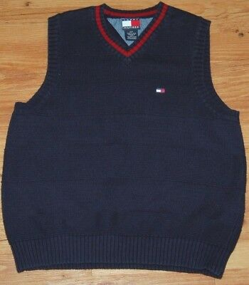 EUC Tommy Hilfiger Boys Small Navy Blue V-neck Knit Sweater Vest Cotton 6 7 8 10