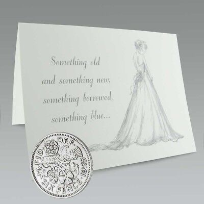 Sixpence lucky wedding coin in card, excellent condition