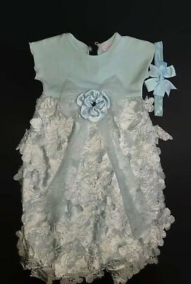 Boutique Cachcach Cach Cach 0-3 Blue Fancy Outfit Gown