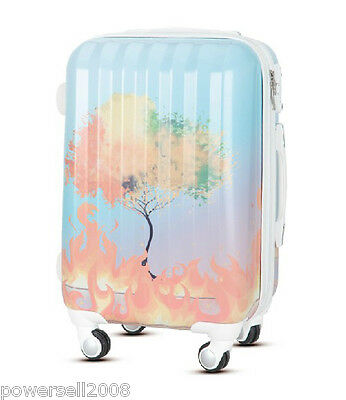 "28"" New TSA Lock Universal Wheel Flame Tree Print ABS+PC Travel Suitcase Luggage"