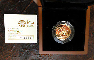 England: 1 Full Sovereign Pound 2009 PP Proof Queen Elisabeth in OVP  Gold RAR!