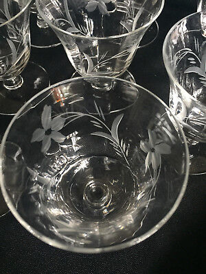 Set of 12 Vtg Clear Depression Glass Etched Optic Panel Cordial/Oyster Glasses
