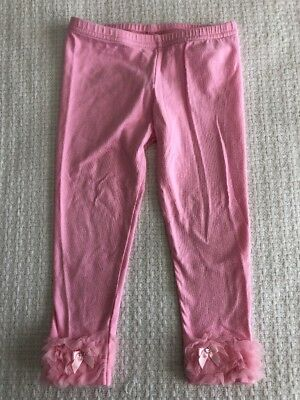 Twirl & Co Girls 2-3T Pink Leggings Pants Ruffle Ankles Sparkle Bows VGUC Spring