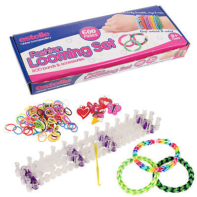 600 Colourful Rainbow Rubber Loom Bands Bracelet Making Kit Gift Set Friendship