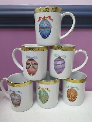 6 Gold Buffet Mugs, Royal Gallery Faberge Egg Porcelain Cups Federated Stores