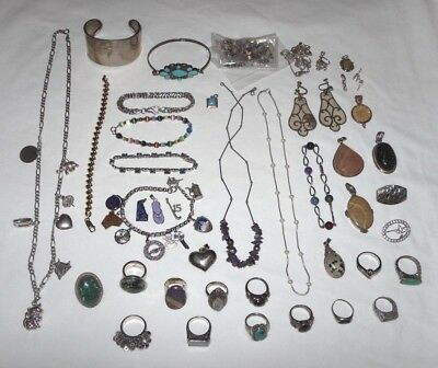 418 Grams Sterling Silver 925 Jewelry Wear Repair Parts Scrap Lot Some Stones