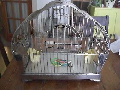 1930s Art Deco Chrome Bird Cage by Hendryx with 2 Original Glass Seed Sides