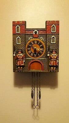 B H R Tower of London cuckoo clock working condition