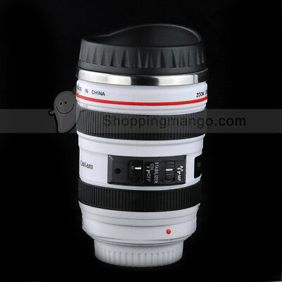 New Camera Lens Cup 24-105 Coffee Tea Travel Mug Stainless Steel Thermos & Lid