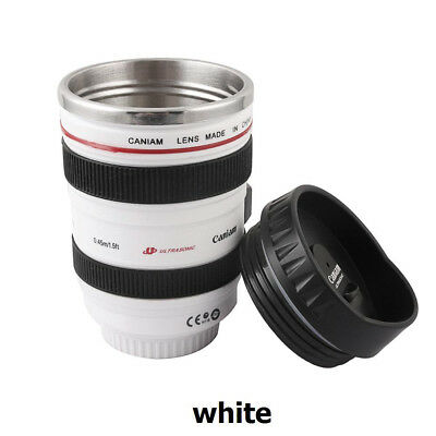 Camera Lens Cup 24-105 Coffee Tea Travel Mug Stainless Steel Thermos & Lid WHITE