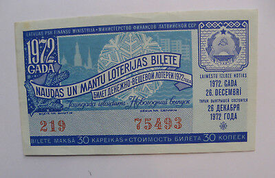 Latvia Ussr Lottery Ticket 1972 New Year Serie Gebraucht Circulated