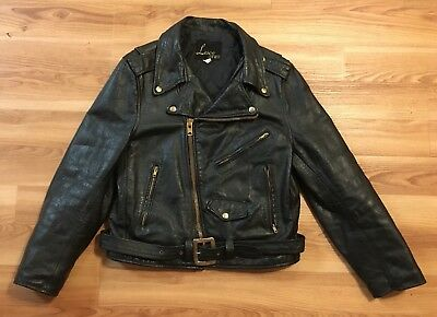Vintage 60's Lesco Leather Jacket Women's 16 Belted Talon Zip Motorcycle Biker