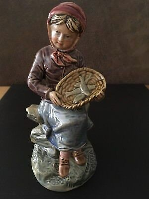 Continental Pottery Figurine Of A Girl Holding A Basket Of Fish - Stamped BU 616