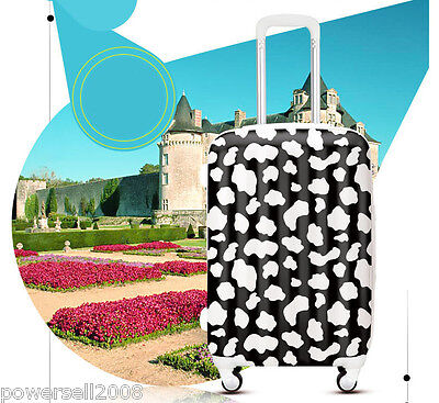 "28"" New TSA Lock Universal Wheel White Cow Grain ABS+PC Travel Suitcase Luggage"