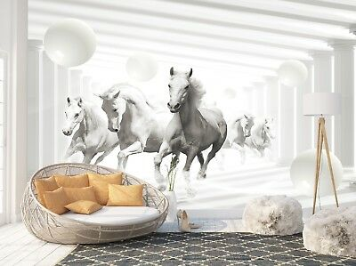 Wall Mural Photo Wallpaper Picture EASY-INSTALL Fleece Abstract Horses 3D Tunnel