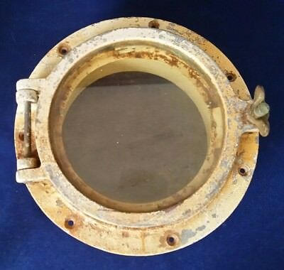 "Vintage Steel Porthole w 8"" Glass - Nautical Maritime Boat Ship Marine Decor"