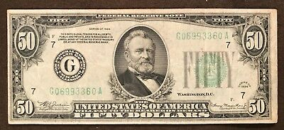 """Series 1934 $50 Federal Reserve Note ; FRB """"G"""" Chicago"""