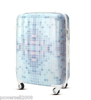 "28"" TSA Lock Universal Wheel Light Blue Mosaic ABS+PC Travel Suitcase Luggage"