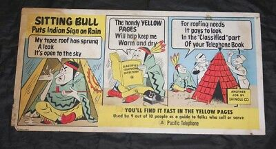 2 Sided Trolley Bus Sign~PACIFIC TELEPHONE,Ben Hur,Sitting Bull