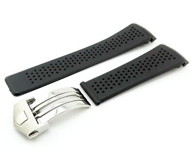 Black Rubber/Silicone Strap/Band Clasp/Buckle for Tag Heuer 22mm + Pins