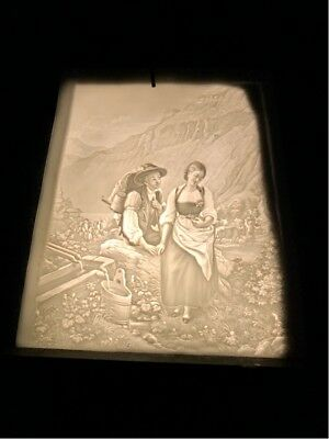 "Antique Lithophane Panel In Shadow Box Panel Measures 3/12"" X 5"" X 5 1/8"""