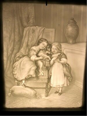 Antique Lithophane Panel In Shadow Box Victorian Girls And Their Dog