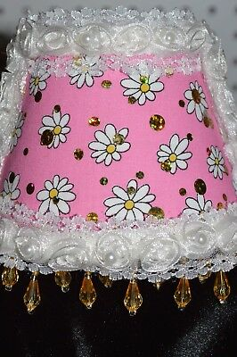 Pink fabric night light with beautiful little flowers.